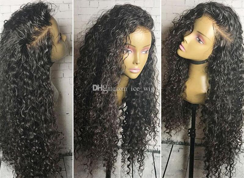 Whloesale Barato Malaio Onda de Água Do Cabelo Perucas Cheias Do Laço com o Cabelo Do Bebê Brasileira Glueless Lace Front Cabelo Humano Lace Wigs para As Mulheres Negras