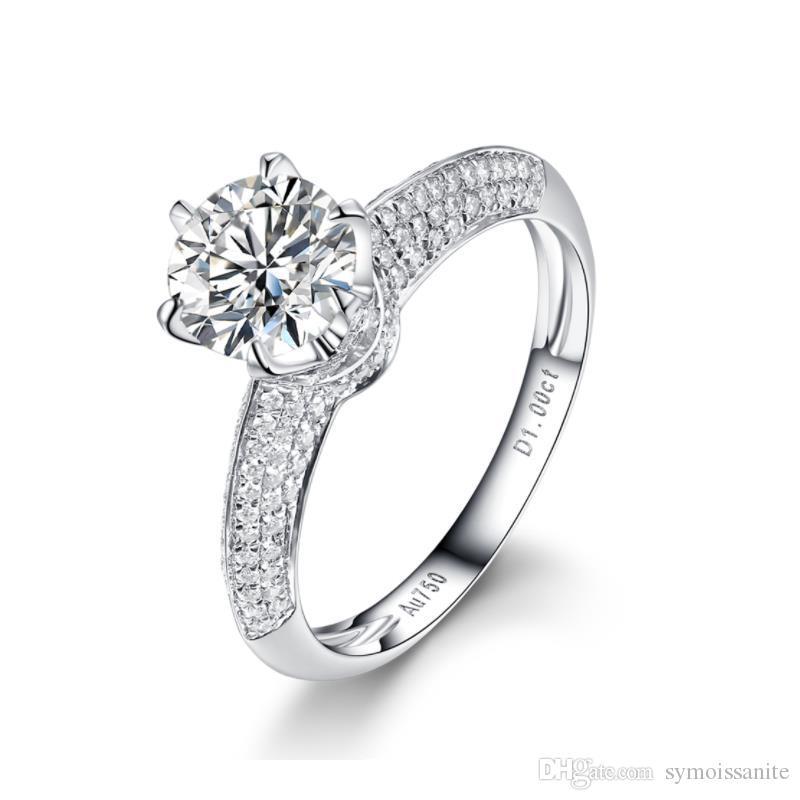 Ajuste clásico de 6 garras Grupo de lujo Laboratorio Diamante Anillos de Moissanite para mujeres D / F Color VVS Prueba con certificado de diamante certificado positivo Certificado