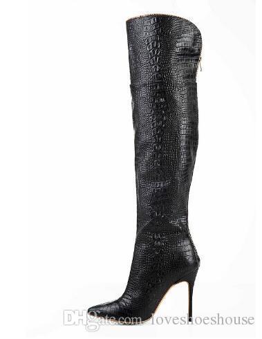 2017 atractivo sobre la rodilla de alta del muslo botas de piel de cocodrilo en punta del dedo del pie fino Tacones altos Vestido de arranque Negro Moda mujer de los zapatos postal