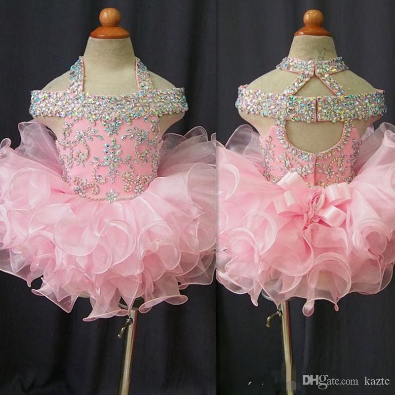 2018 Vestidos para niños pequeños Vestidos de fiesta de organza rosada para niños Vestidos de fiesta con cuentas de cristal espalda abierta con lazo Vestido formal de fiesta de cumpleaños para niñas pequeñas