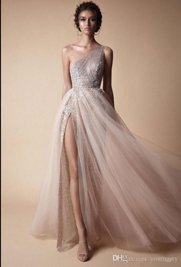 Berta 2018 New High Side Split Sequined Wedding Dresses Bohemian One Shoulder