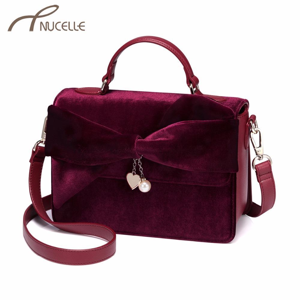 NUCELLE Womens Velvet Handbags Ladies Fashion Brand Tassel Tote ...