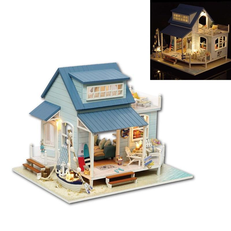 Kits DIY Wood Dollhouse Sofa Miniature With LED+Furniture+cover Doll hous HTB