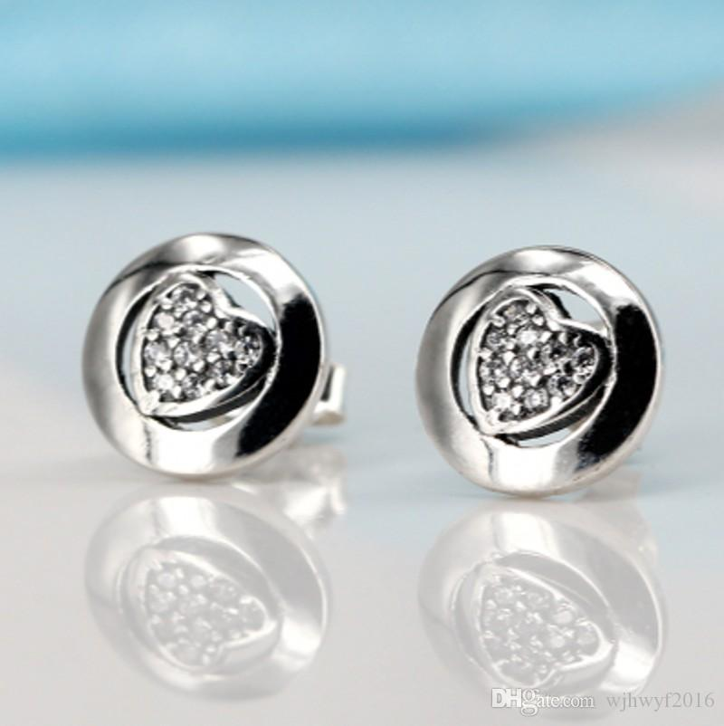 2018 New Authentic 100% 925 Sterling Silver Sweet Heart Love Stud Earrings Crystal Brincos Earing Ear For Women Fashion Jewelry