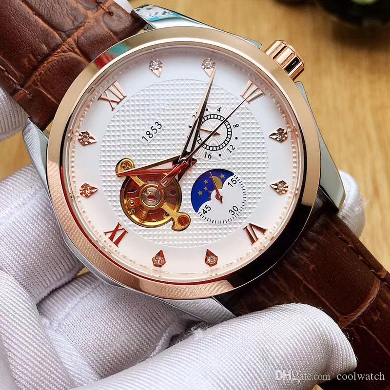 Moda męskie zegarki 43mm Dial Mechaniczny Automatyczny Skórzany Pasek Casual Zegarek Dla Mężczyzn Mężczyzna Prezent Wodoodporne Wristwatches Relogio Masculino