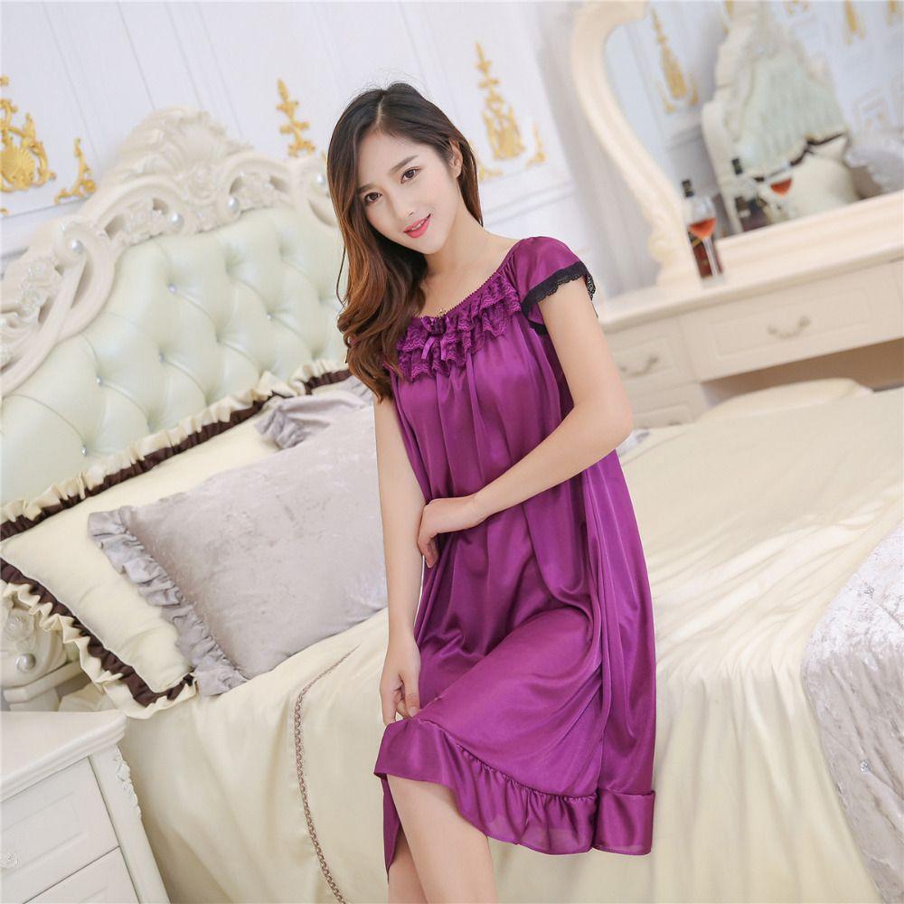 Женщины sleepshirts новый летний лед шелк ночная рубашка многоцветный женский сексуальная шелковая юбка Home Furnishing удлиненный sling sleepdress S1011