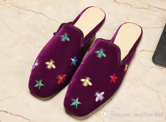 Velvet slippers women
