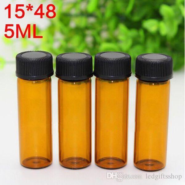 5ml 1/6 oz Bouteilles en verre épais pour Ambre Huile Essentielle vide bouteille de parfum en verre E liquide bouteilles avec bouchon à vis pointe trou
