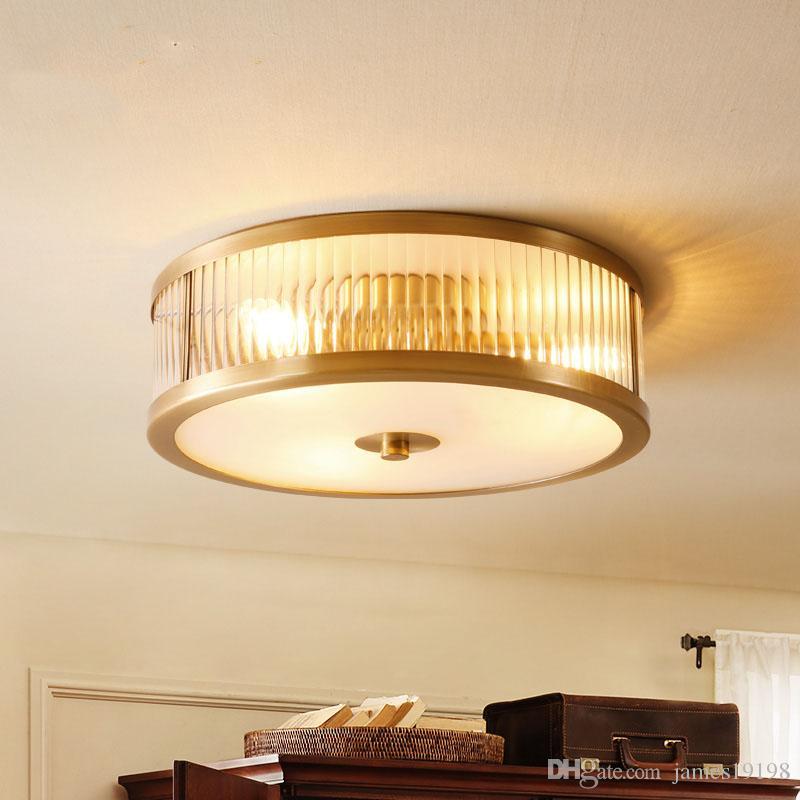 American All rame rotonda soffitto luce Dia35cm plafoniera in vetro 45 centimetri da letto soggiorno lamppara de techo casa illuminazione F127
