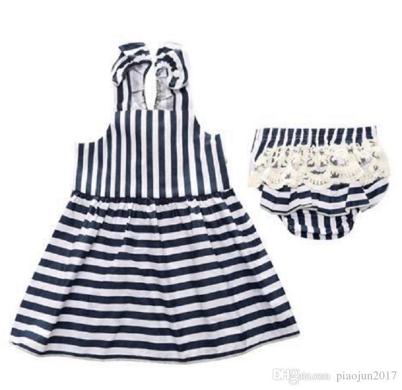 Baby Mädchen Sommer Hose Outfit Kleidung Rock Kleid Halter Sommerkleid (Marineblau)