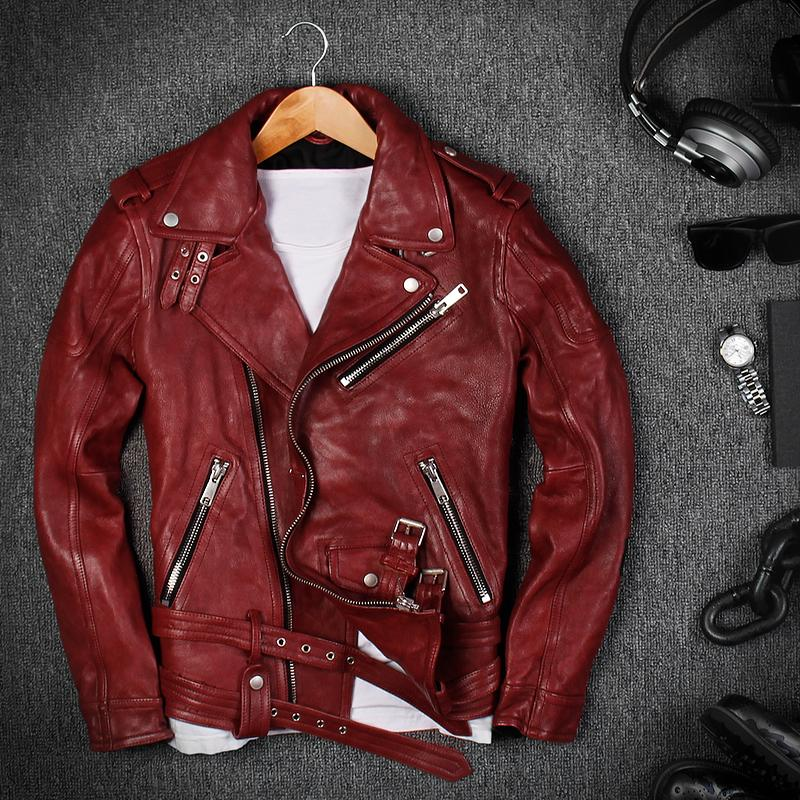 8d7561d5d0 2019 2018 Men Red Genuine Leather Motorcycle Jacket Plus Size XXXL Real  Sheepskin Diagonal Zipper Leather Biker Coat From Beenling