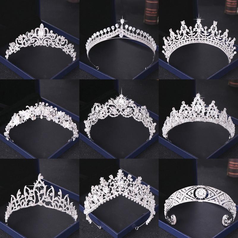 Crystal Rhinestone Wedding Crown Silver Bride Tiaras and Crown Headdress Hair Accessories For Women Wedding Bridal Headpiece