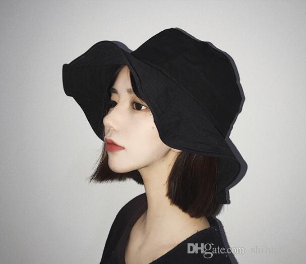 Cappello da visiera casual da viaggio estivo con cappello estivo da pescatore a bordo onda giapponese e sudcorea
