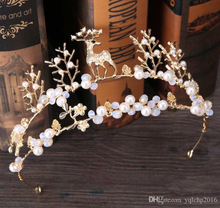 New crown bridal headdress Mini fawn crown Gold Animal accessories wedding dress baking birthday accessories