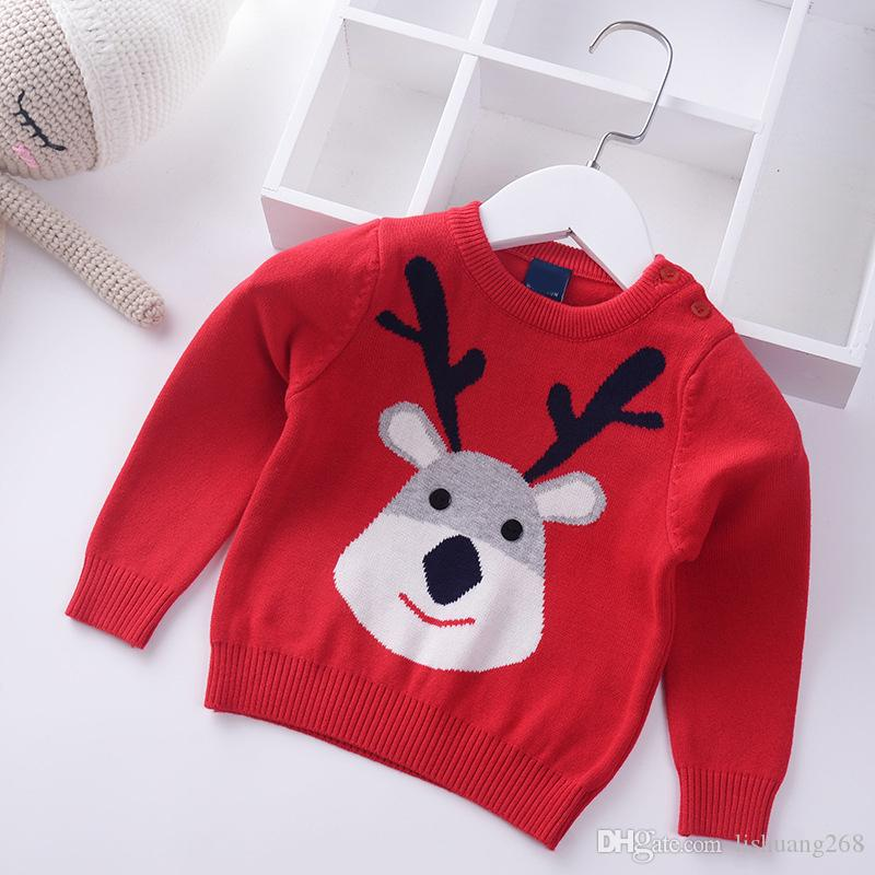 2018 Herbst Winter Jungen Pullover Baumwolle Kinder gestrickt Weihnachten Cartoon Elch Kinder Pullover Kleidung Säuglings Baby Pullover 1-6Y
