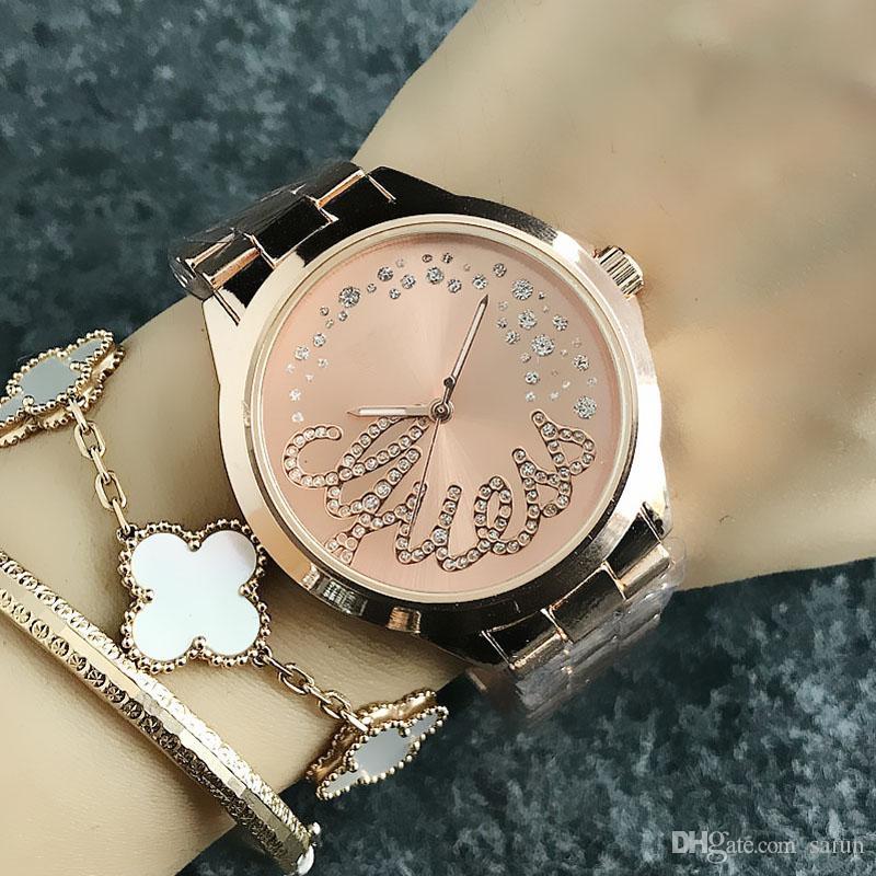 패션 브랜드 손목 여성 크리스탈 스타일 다이얼 철강 금속 밴드 석영 시계 GS (11) 시계
