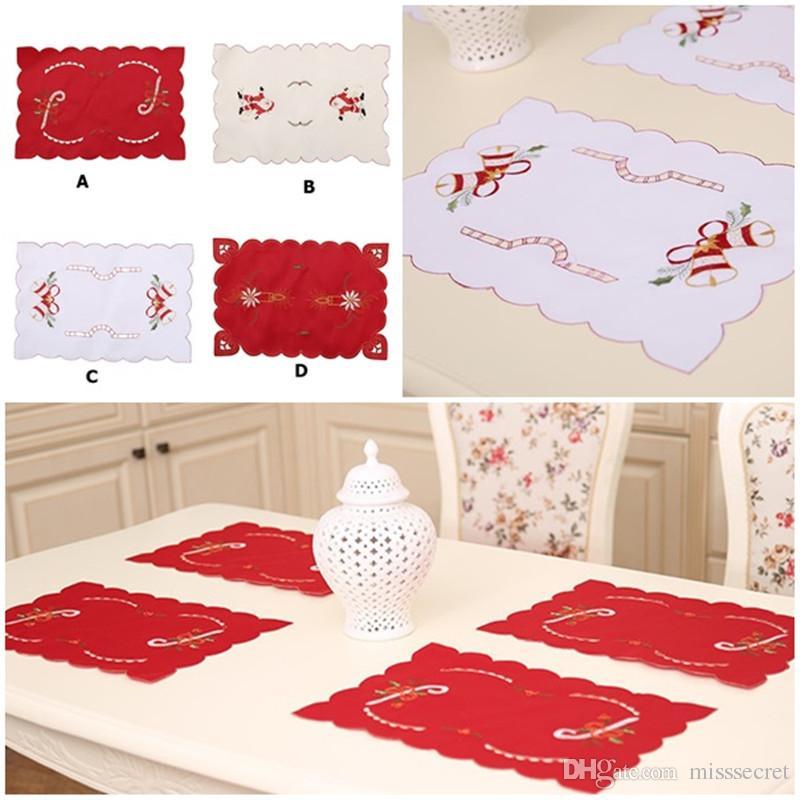 Świąteczne podkładki Tabeli Boże Narodzenie Dekoracje Święty Mikołaj Haftowane Hollow Xmas Stołowy Mat Plate Pad Boże Narodzenie Dom Party Decor
