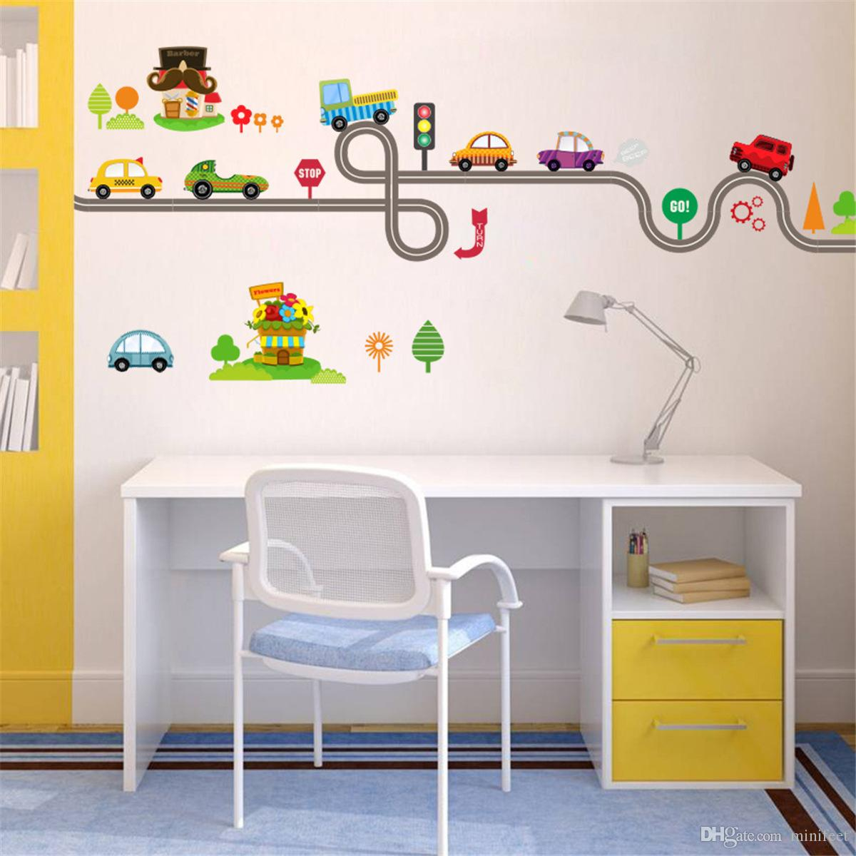 Cartoon Road Cars Wall Stickers Nursery Kid's Bedroom Decorative Wallpapers Waterproof Self-adhesive PVC Arts Murals Decals Free Shipping