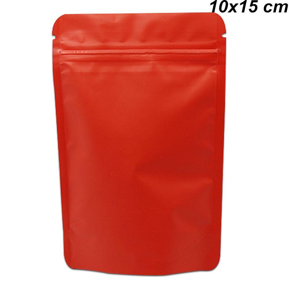 Матовый Red 10x15cm Stand Up Pure сумки Алюминиевая фольга Resealable для конфеты печенье Майларовый Фольга Zipper Домашняя печать Закуска хранения Упаковка мешок