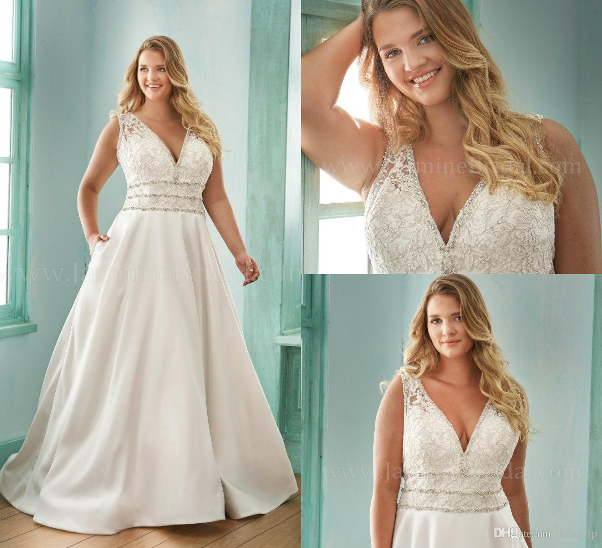 2019 Plus Size Wedding Dresses Beaded Lace Appliqued A Line Floor Length V Neck Country Bridal Gowns Belt Beach Wedding Dress Garden Style