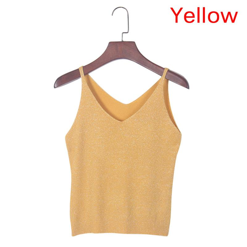 Knied Sexy Tank Tops Mujeres Gold Thread Top Chaleco Con Lentejuelas V Cuello Largo Tank Tops Blusa Sólido Plata Camis Beige Fitness Suéter