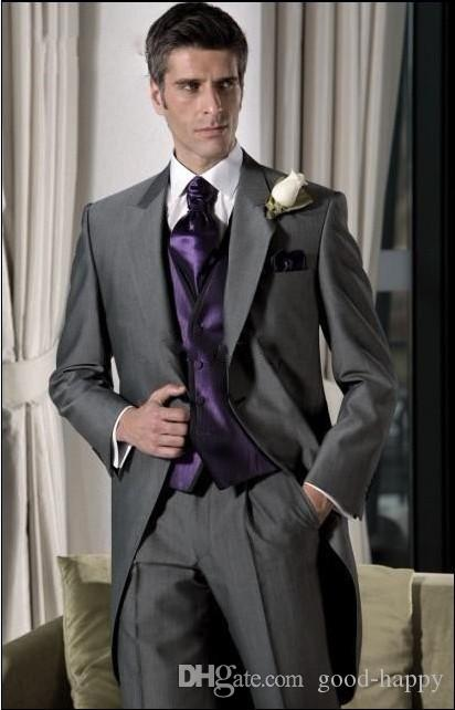 Novo Design Dark Gray Tailcoat Noivo Smoking Estilo Manhã Homens Desgaste Do Casamento Excelente Homens Formal Do Partido Do Baile de finalistas Terno (Jacket + Pants + Tie + Vest) 947