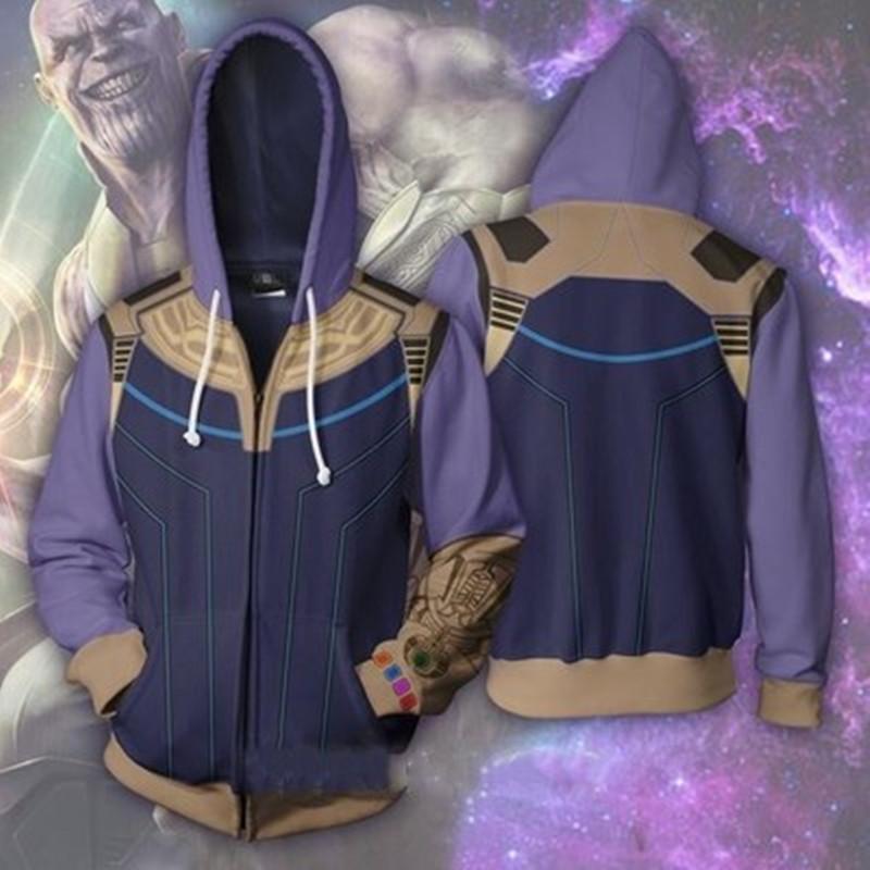 O 3 Hoodies 2 Brasão Outfit Man Homem-Formiga Thanos Ferro diário Zipper Tops camisola Casual