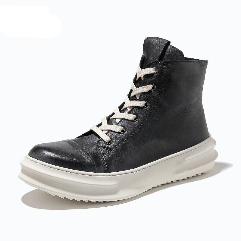 Мужские зимние середины икры сапоги полный зерна кожаный толстый каблук Мартин зимние снега сапоги человек повысить обувь