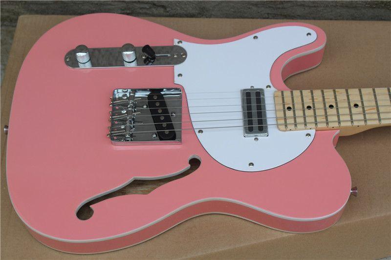 حار! أسلوب شبه جوفاء اليد اليسرى الغيتار الكهربائي الوردي الجسم القيقب الأصابع أعسر المنتج مربع خاص