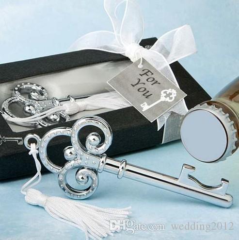 (30 peças / lote) Presentes de casamento preto de chave a meu coração Coleção Crown abridor de garrafas para noivas chuveiro favores e favores do partido