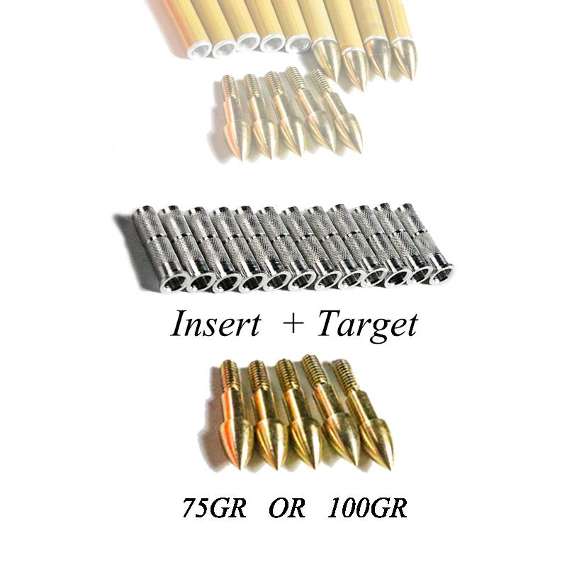 Linkboy Archery 12pcs Golden Target Point tips 75gr/100gr 8-32 Whorl and 12pcs Aluminium Arrow Insert for compound bow Hunting Shooting