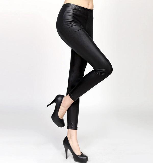 lady plus size 3XL 5XL fake leather Leggings blue wine red black Casual pants spring autumn Leggins S M L XXL slim fit pants