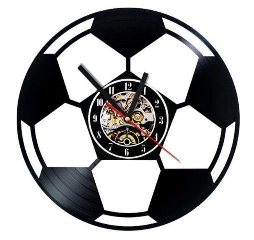Relógio de parede de vinil de forma de futebol criativo decoração presente de arte artesanal de personalidade (tamanho: 12 polegadas, cor: preto)