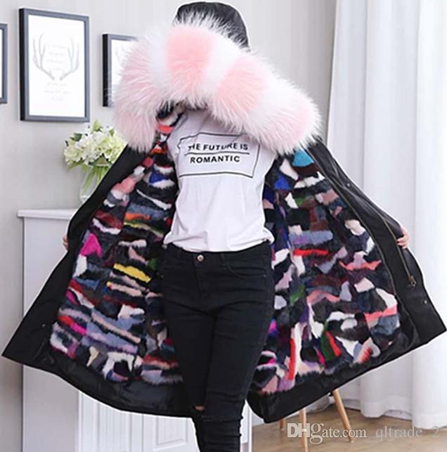 розовый белый енот меховой отделкой женщин снег пальто X-длинный стиль нерегулярные шить разноцветные грива меховая подкладка черные парки