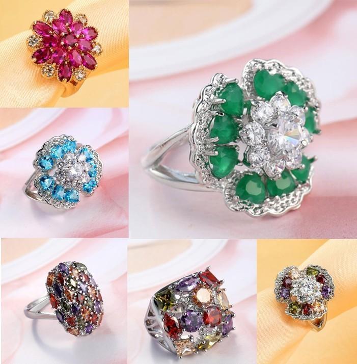 Atacado 7 Estilo Anéis De Casamento para As Mulheres Tamanho 6-10 Inlay Colorido Zircon Pedras CZ Cluster Anéis