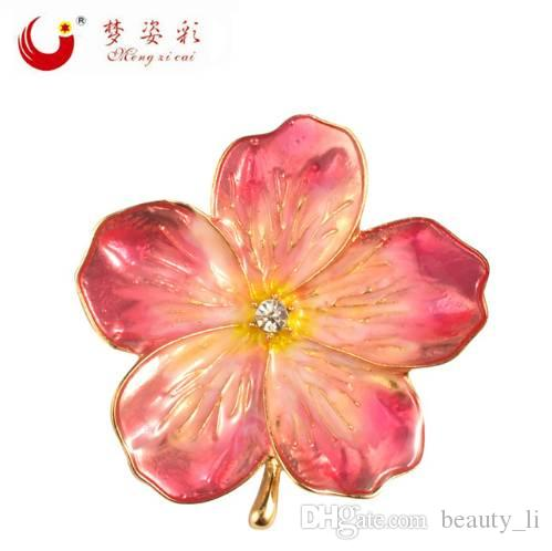 Lucky Pink Enamel Flower Brooches Female Hijab Pin Corsage Brooch for Women Wedding Dress Badge Accessories Jewelry
