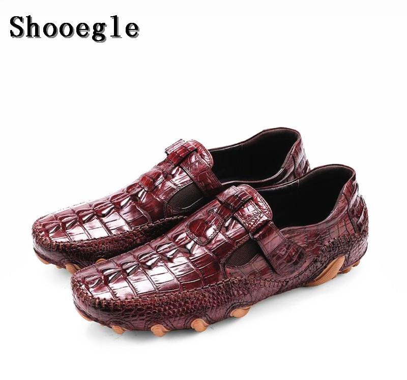 SHOOEGLE Mens Alligator Skin Leather