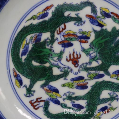 China antique porcelain Qing yongzheng doucai painting flower circular plate