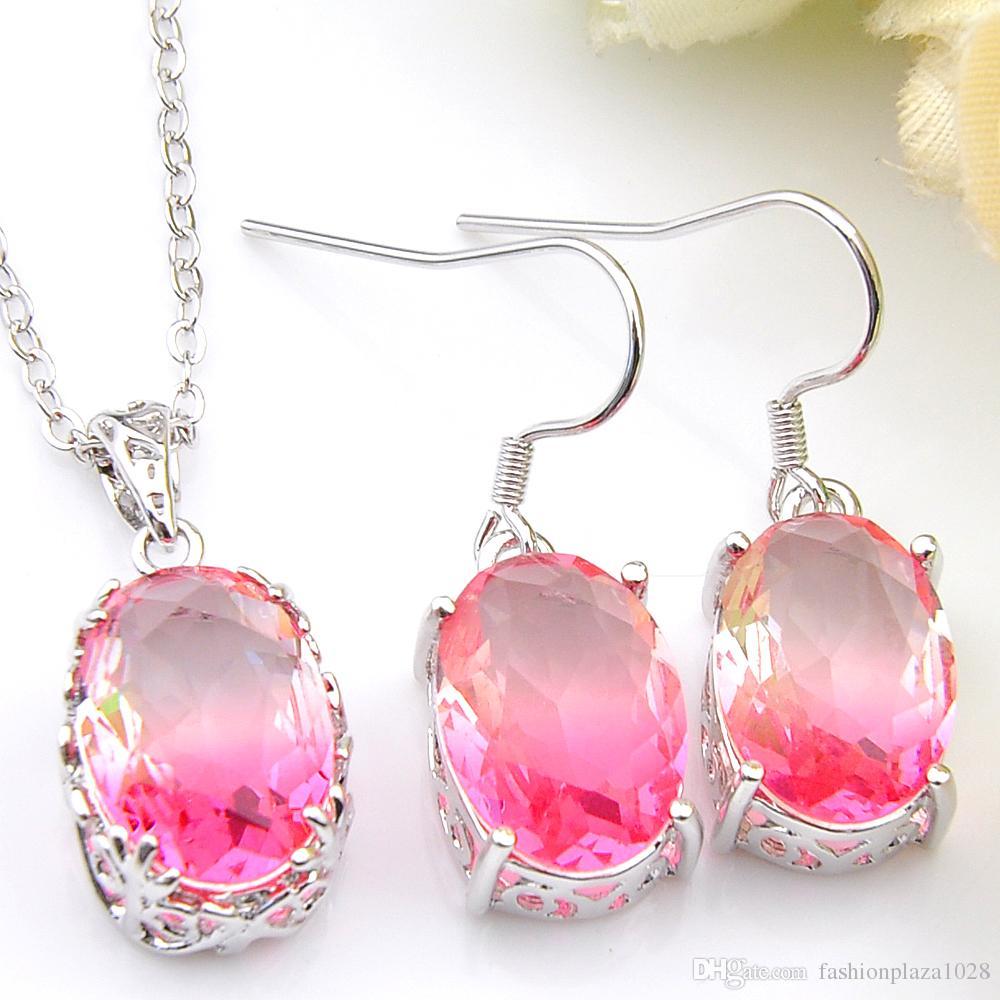 Luckyshine 5 set Insiemi dei monili rotonda Tourmaline 925 ovale collana in argento rosa zircone orecchino di pendente di nozze insiemi dei monili di trasporto