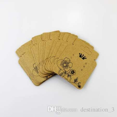 Wholesale 100pcs/lot Kraft Necklace Cards & earrings Packaging Display kraft card for pendant Jewelry Price Tags