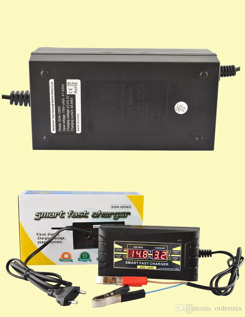 Caricabatteria per auto SON-1206D Automatico completo da 110V a 220V A 12V 6A Alimentazione veloce intelligente Ricarica Display LCD digitale piombo al piombo secco a secco