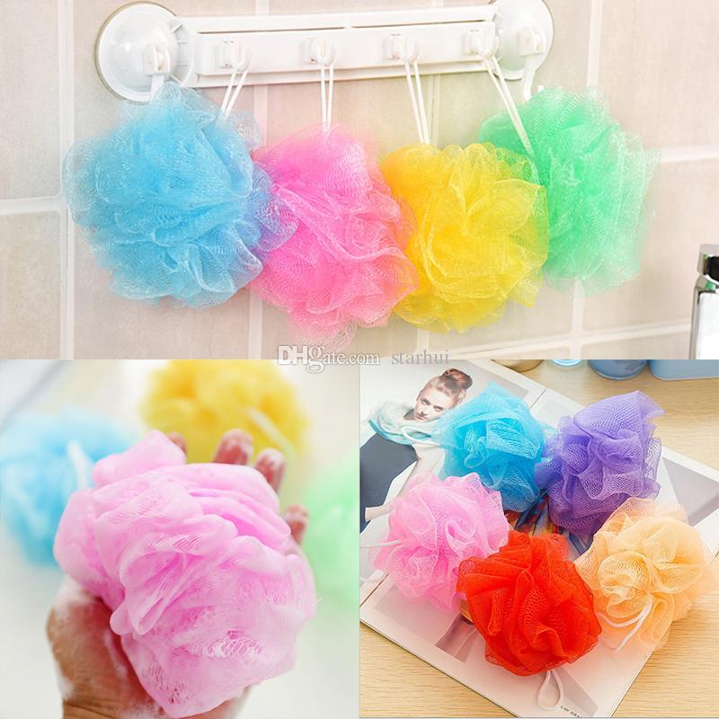 New Multicolour Bath Ball Shower Body Bubble Exfoliate Puff Sponge Mesh Net Ball Cleaning Bathroom Accessories Home Supplies WX9-444