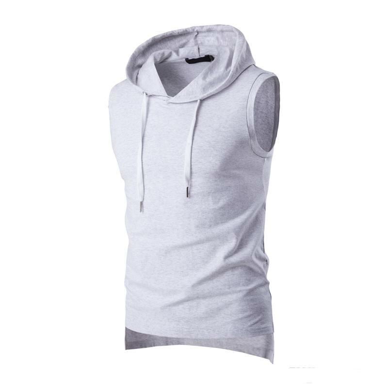 2018 Summer Casual Men's Solid Sleeveless Sports Cotton T-Shirt Hooded Tank Top Hoodies Tee Men Bodybuilding Fitness Tops