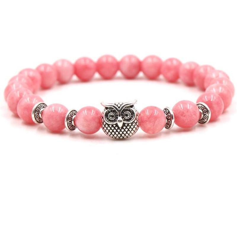 New Pink Rose Quartz Bracelets Owl Lion Leopard Buddha Bracelets Elastic Natural Stone Bangles For Gift