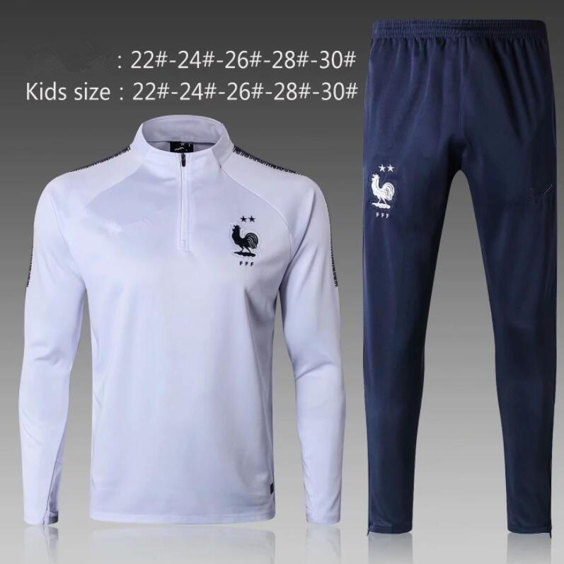 2star POGBA GRIEZMANN Mbappe DEMBELE KANTE Soccer jacket tracksuit kids Fr BEST QUALITY 2018 2019 football boys training suit kits