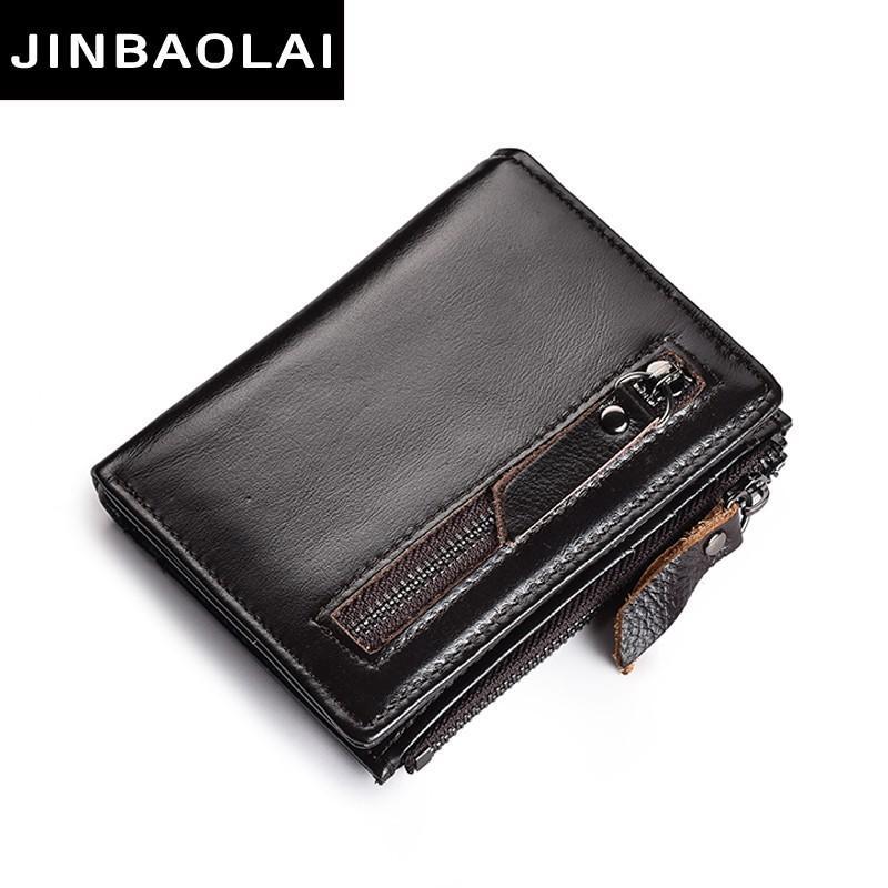 Натуральная кожа Мужской кошелек с молнией монет Карманный Короткие Мужчины бумажники Тонкий бумажники