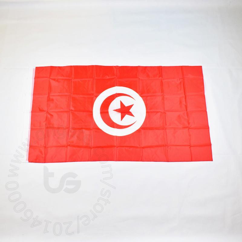 تونس / Tunisianbanner العلم الوطني الحر 3X5 الشحن FT / 90 * 150CM معلق العلم الوطني تونس الديكور المنزلي العلم راية