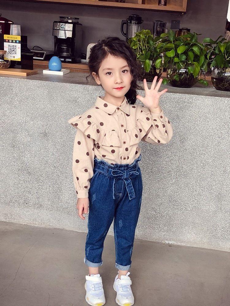 New Autumn Baby Girls Jeans Bowknot Kids Denim Pants Pencil Pants Children Casual Jeans Denim Trousers 4069