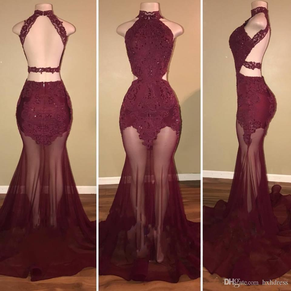 2019 Nova Borgonha Pescoço Cintilante Sereia Vestidos de Baile Sem Mangas Sexy Backless Lace Appliqued Frisado Especial Evening Party Gowns Do Vintage
