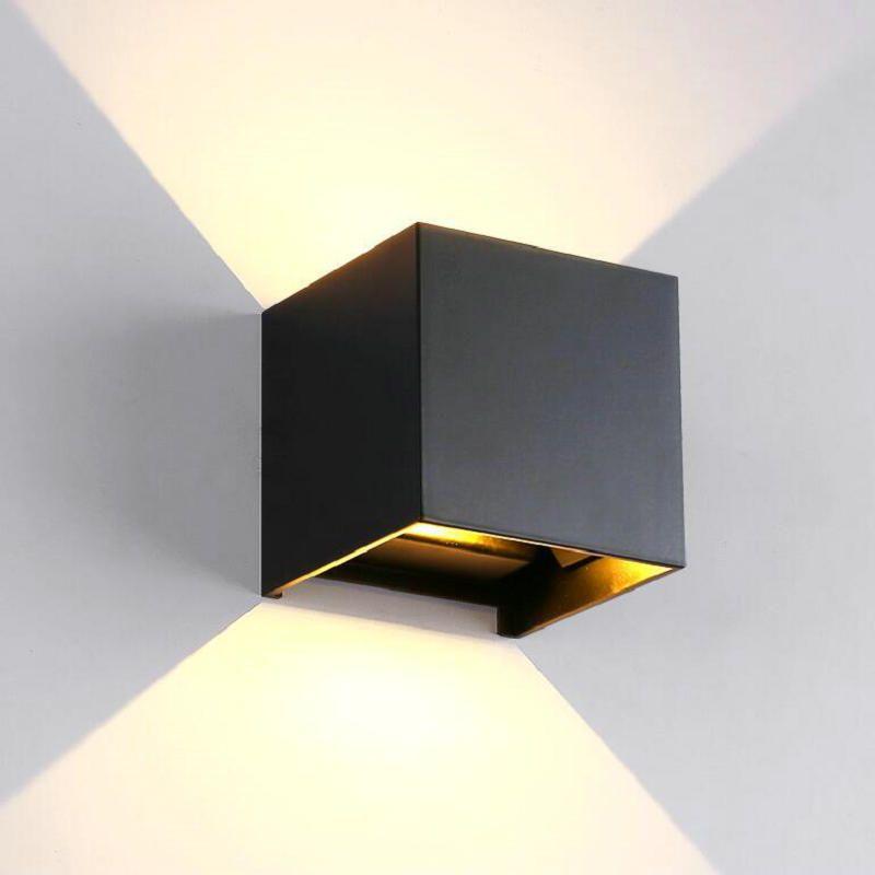proyecto ferroviario 12W lampada LED de aluminio ligero de la pared lámparas de pared cabecera del dormitorio habitación lámpara de pared cuadrado LED